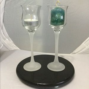 PartyLite Iced Crystal Pair Candle Holders NIB